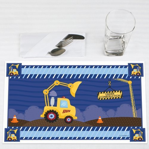 Under Construction Placemat (Construction Truck - Baby Shower or Birthday Party Placemats - Set of 12)