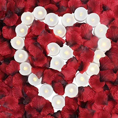 obmwang Pack of 24pcs Realistic Flameless LED Tea Light Candles and 2000pcs Dark Silk Rose Petals Artificial Red Rose Flower Petals, Ideal for Valentine s Day, Proposal, Wedding, Anniversary, Honeymoo