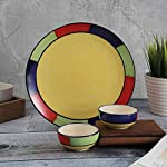 Crok Chok Handpainted Dinnerware Ceramic Dinner Plate and Bowl Set (1 Plate, 2 Bowls, Multicolour)