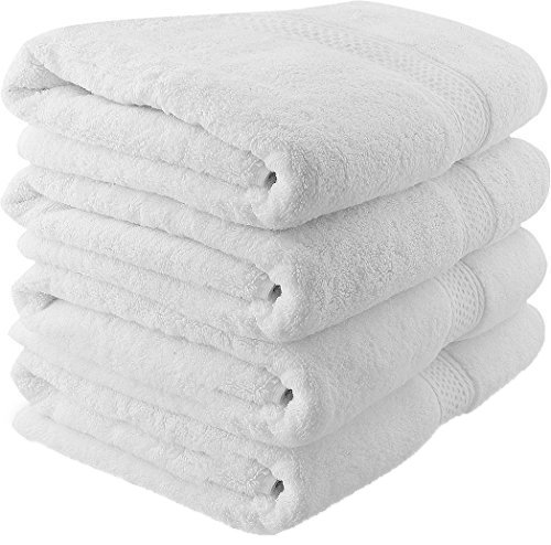 700 GSM Premium Bath Towels Set - Cotton Towels for Hotel and Spa, Maximum Softness and Absorbency by Utopia Towels (4 Pack, White)