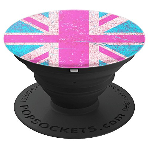 (Pink Union Jack UK Flag - PopSockets Grip and Stand for Phones and Tablets)