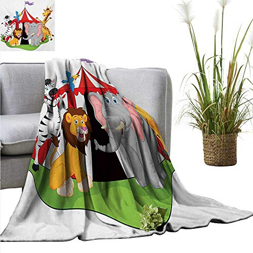 (XavieraDoherty Throw Blanket for Couch Circus,Performer Acrobat Animals in Circus Tent Happy Giraffe Elephant Joyful Art,Red Green Yellow Comfortable Soft Material |give You Great Sleep 30