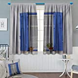 Anhounine Country,Blackout Curtain,Typical Greek Style Wooden Window Shutters with Flowers Mediterranean Life,Waterproof Window Curtain,White Turquoise,W108 x L72 inch
