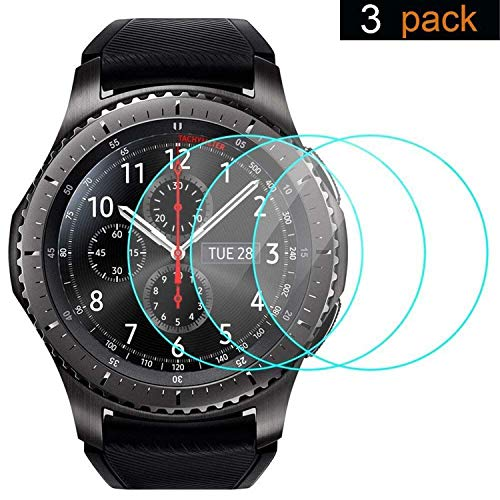 Samsung Gear S3 Screen Protector [3 Packs], Ankey Tempered Glass Screen Protector Samsung Gear S3 Smartwatch Ultra High Definition Invisible Anti-Bubble Crystal Shield
