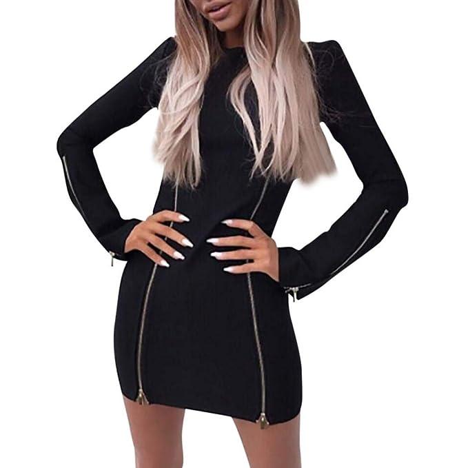 77960c9491bb Damen Elegant Kleider T-Shirt Kleid langarmkleid Hülsen Strandkleid ...