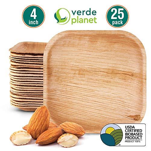 Verde Planet - 4 inch square Palm Leaf Plates - Biodegradable, Ecofriendly, Disposable, Sturdy, Elegant, Premium Quality Plates, USDA Certified - 25 Count