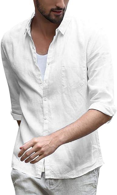 SoonerQuicker Camisa de Hombre T Shirt Blusa de Lino Holgada para Hombre Color sólido Manga Tres Cuartos Camisas con Cuello doblado Blusa tee: Amazon.es: Ropa y accesorios
