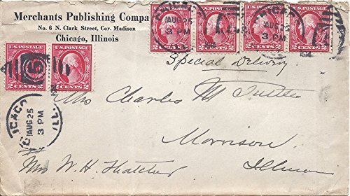 1914 US Postal Cover With Letter And Six 2 Cent Washington Postage Stamps Scott # 499 -