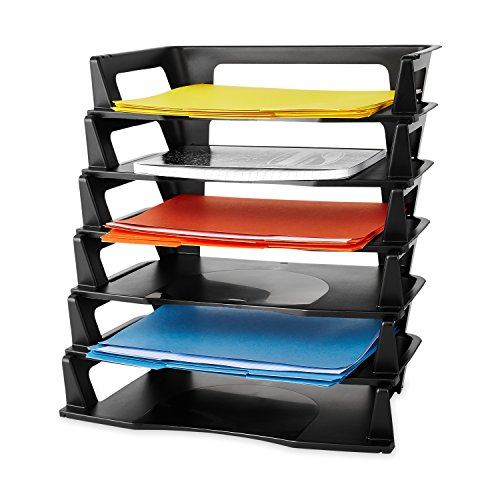 Rubbermaid Regeneration Letter Tray, Six Tier, Plastic, Black (86028) (Erving Tray)