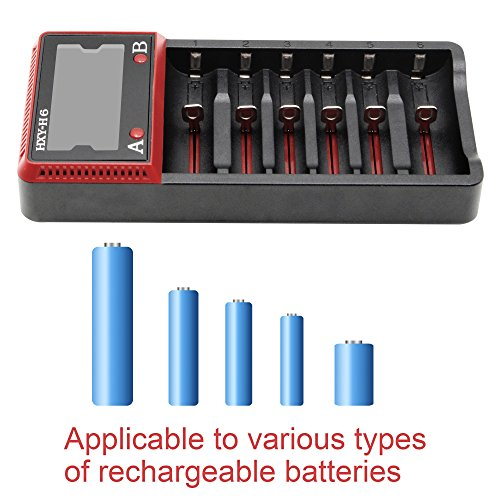 SVPRO Intellicharge Lithium LCD Battery Charger, 6-Slots Universal Smart Car Wall or Li-ion/AA AAA Ni-MH Ni-Cd/LiFePO4 10440 14500 16340 17500 18650 26650 22650 (H6)