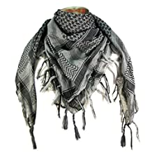 Premium Shemagh Head Neck Scarf - Grey/Charcoal