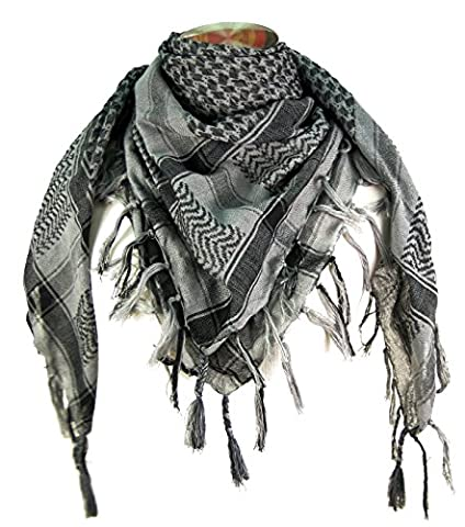 Premium Shemagh Head Neck Scarf - Grey/Charcoal (Palestinian Scarf For Men)