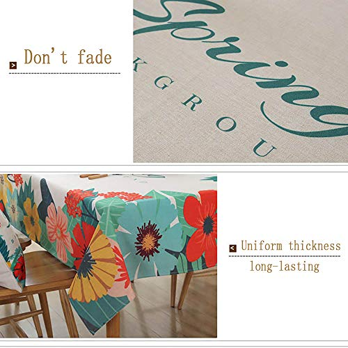 Spring & Summer Outdoor Tablecloth, Spill Proof and Waterproof Mouse Pad Unique ed Mousepad Spa Tower Stone And Hibiscus With BambooOn The Water Blurred Stitc Easy Care Spillproof/W54 x L120 Inch by PINAFORE HOME (Image #1)