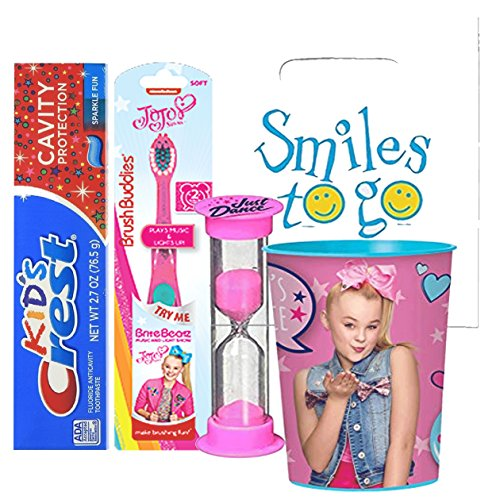JoJo Siwa Inspired 4pc Bright Smile Oral Hygiene Bundle! Light up Musical Toothbrush, Toothpaste, Brushing Timer & Mouthwash Rise Cup! Plus Dental Gift Bag & Tooth Saver Necklace! (Protection Bed Brite)