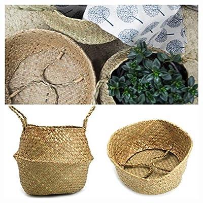 Storage Basket, 1/2 Pcs Rattan Belly Storage Baskets Laundry Holder Pl Flower Pot Home Decor COD, 22CM