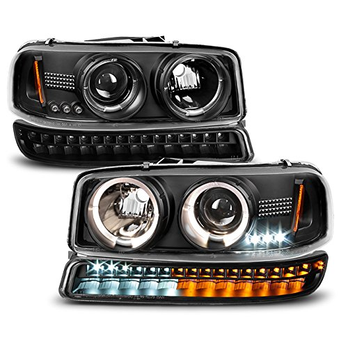 For 1999-2006 GMC Sierra | Yukon Replacement Black Halo Projector Head Lights Pair + LED Bumper Lights - Gmc Sierra Halo Projector