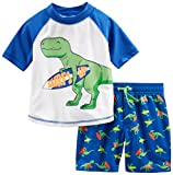 Simple Joys by Carter's Baby Boys' 2-Piece Swimsuit Trunk and Rashguard, Blue Dino, 18 Months