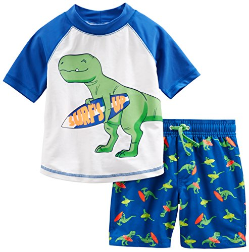 (Simple Joys by Carter's Baby Boys' 2-Piece Swimsuit Trunk and Rashguard, Blue Dino, 24 Months )