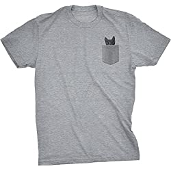 Mens Pocket Cat T shirt Funny Printed Peeking Pet Kitten Tee For Guys (Grey) XXL
