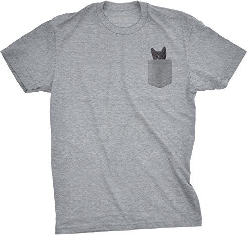 Crazy Dog TShirts - Mens Pocket Cat T Shirt Funny Printed Peeking Pet Kitten Animal Tee For Guys (Grey) - S - herren - S