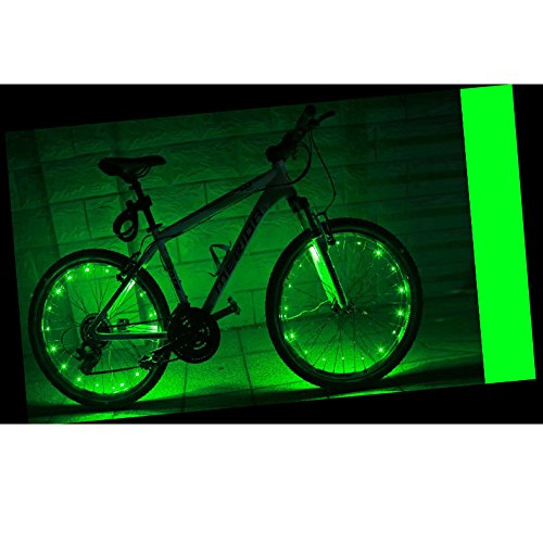 Happy Hours – USB Rechargeable Waterproof Bike LED Light / Bicycle Motorbicycle Lamp Flash Tyre Wheel Light Strip Night Riding Cycling Safety Fun Spoke String – Green Review