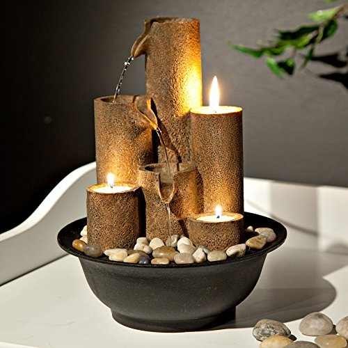 Alpine WCT202 Tiered Column Tabletop Fountain w/ 3 Candles, 11 Inch Tall Brown