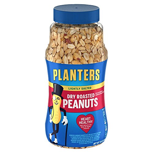 Dry Roasted Peanuts - Planters Peanuts, Dry Roasted & Lightly Salted, 16 Ounce Jar (Pack of 2)