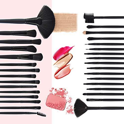 Makeup Brushes 32pcs, Professional Makeup Brush Set, Kabuki Face Eyes Shadow Eyeliner Foundation Blush Lip Powder Liquid Cream Blending Brushes (BLACK)