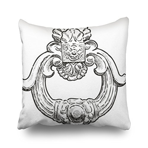 Moire Ring Pillow - Sneeepee Throw Pillows Covers Design Ancient Door Handle Form Decorative Ring Square 16 x 16 Inches Decorative Pillowcase Home Decor Sofa Pillow Cushion Cases
