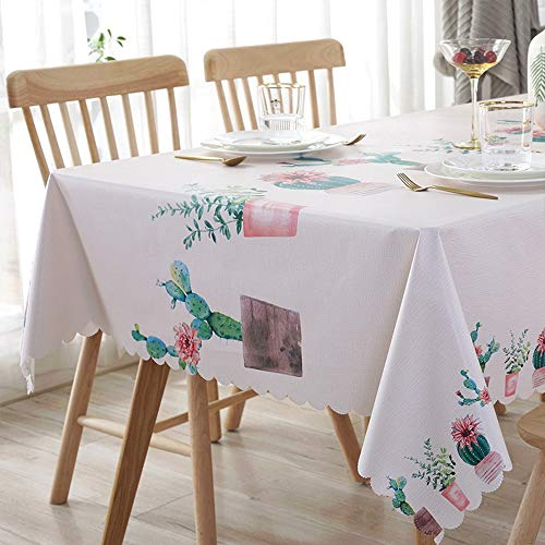 - Sun & Moon Rectangle Tablecloth PVC Waterproof and Oil Proof Simple Pattern Decorative Table Cover White,135135cm(5353in)