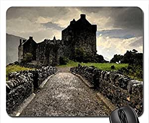 old castle at the end of a road Mouse Pad, Mousepad (Medieval Mouse Pad, 10.2 x 8.3 x 0.12 inches)