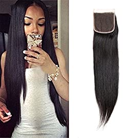 4×4 Straight Free Part Lace Closure Brazilian Virgin Human Hair Piece Natural Black by Dilys(08inch)