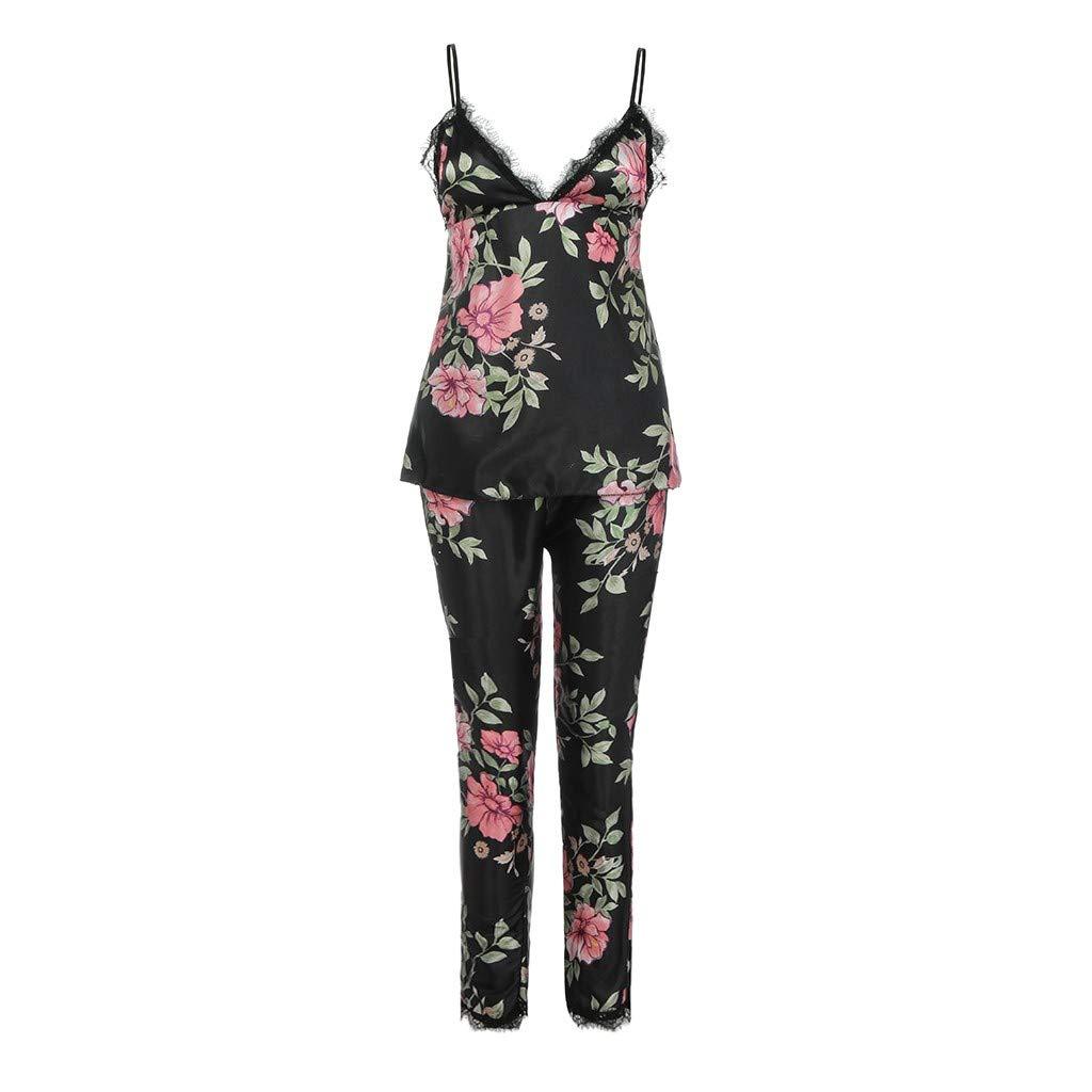 Pantaloni Lunghi Set Topgrowth Camicie da Notte Donna Pigiama Due Pezzi Raso Seta Stampato Floreale Indumenti da Notte con Pizzo Canotta