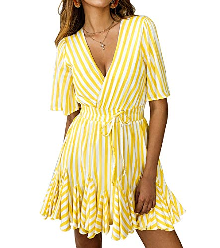 PRETTYGARDEN Women's Sexy Deep V Neck Short Sleeve Striped Wrap Ruffle Hem Pleated Mini Dress with Belt (Yellow, X-Large)