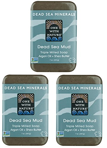 (DEAD SEA Salt Mud SOAP 3 PK, Dead Sea Salt, Shea Butter, Argan Oil, Magnesium, Sulfur, Mineral Soap. All Skin Types, Problem Skin. Acne, Eczema, Psoriasis, Natural, Therapeutic, Antibacterial - 7 oz)
