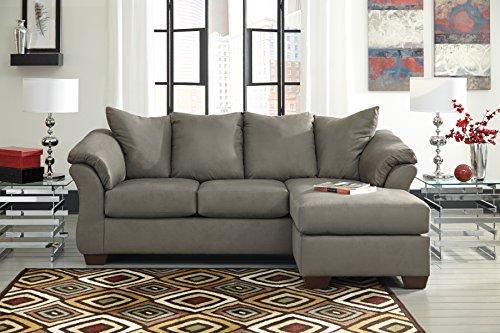 Darcyl DuraBlend Contemporary Cobblestone Color Microfiber Sofa Chaise Stone Microfiber Sofa