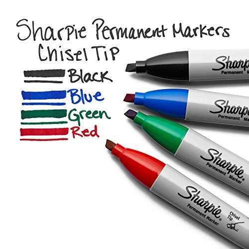 Sharpie Permanent Markers, Chisel Tip, Black, 12 Count