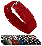 BARTON Watch Bands - Choice of Color, Length & Width (18mm, 20mm, 22mm or 24mm) - Crimson Red 20mm - 'Long' Version