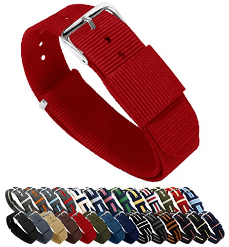 Choice of Color, Length & Width (18mm, 20mm, 22mm or 24mm) - Crimson Red 20mm - Standard Length (Fabric Nylon Colour)