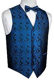 Brand Q Men\'s Formal Tuxedo Vest & Bow-Tie Set-Royal Blue Paisley-M