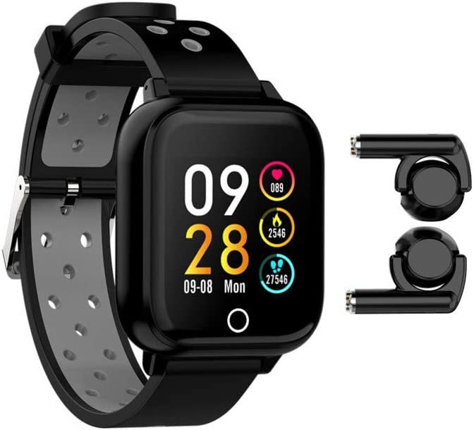 M6 3 in 1 Bluetooth Headset MP3 Smart Watch Smart Bracelet Wireless Earbuds MP3 Combo Full Touch Heart Rate Tracker Blood Pressure Sport Women Men Smartwatch for Android iOS (Black)