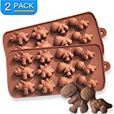 PERNY Dinosaur Molds - 2 Packs Dinosaur Non-stick Silicone Candy Chocolate Soap Gummy Crayon Molds, BPA Free