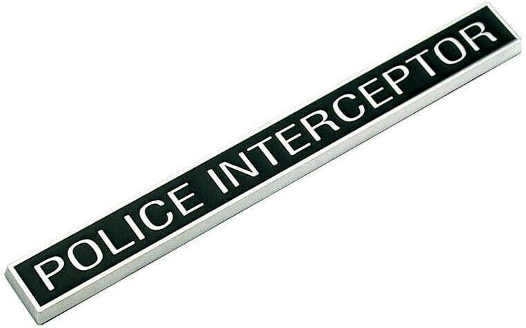 ONE PCS CHROME /& BLACK POLICE INTERCEPTOR FENDER EMBLEMS NAMEPLATE BADGES