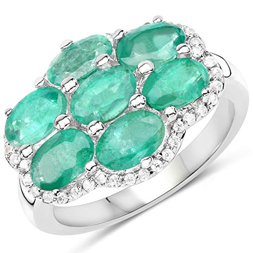 Used, 925 Sterling Silver Genuine Zambian Emerald and White for sale  Delivered anywhere in USA