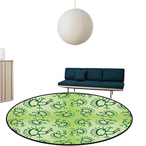 Carpet Style Drawing of Alien Frogs Fantasy Theme Watercolors Cartoon Like Pattern Kids Green Waterproof and Easy Clean Diameter-23.6