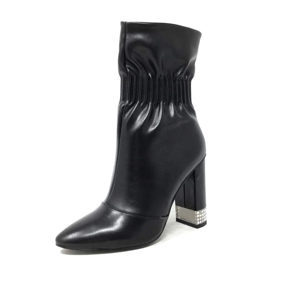 Angkorly - Damen Schuhe Stiefeletten Stiefel - Biker - Glam Rock - Flexible - Strass Glitz - elastisch Blockabsatz high Heel 10.5 cm