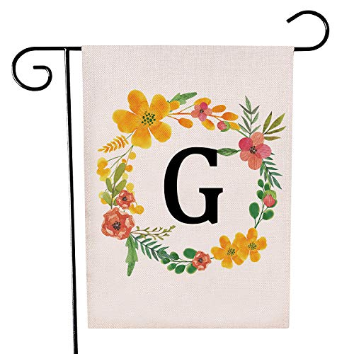 Garden Flag Letter - HomeLove Inc. Classic Monogram Letter G Welcome Garden Flag Banner - 32 x 47 cm Double Sided Burlap Flag for Decorative use Indoor or Outdoor - Hang in Your Front Lawn Fits Garden Flag Pole