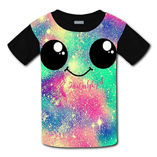 Galaxy Smile Face DIY Kids Short Sleeve Tshirt Boys Girls Tee Sports Crew Round Tops (Operation Halloween Costume Diy)