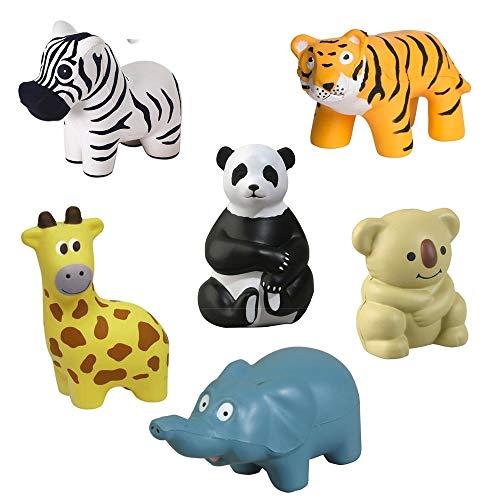 GL Toys Zoo Animal Stress Toy Set of 6 (Elephant, Giraffe, Panda Bear, Koala, Zebra Tiger) ()
