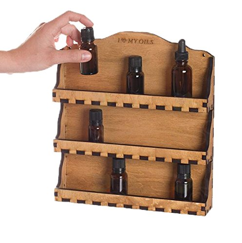 - Urban Forest Essential Oil 3 Shelf Wooden Wall Display - Secure Hanging Storage for Easy Access To Your Bottles - Holds 24 Vials